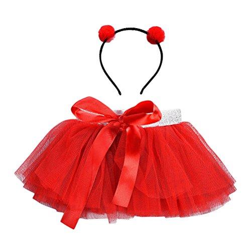 (TENDYCOCO Prinzessin Kleid Tüll Half Rock und Stirnband Anzug mit Fliege für Kinder Mädchen (Rot))