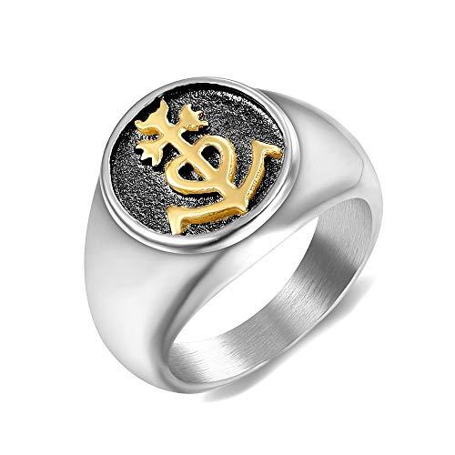 BOBIJOO Jewelry - Super Ring Siegelring Unisex Herren Damen Edelstahl Kreuz der Camargue Goldenen Gold - 17,8 (7 US), Vergoldet - Edelstahl 316