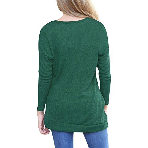 Blouses Femmes Chemises Manches Longues T-shirts Col Rond Tops Solides Blouse Coton Boutons Travail Décontractée Quotidien Vert Violet Rose Bleu Café Gris S-2XL hibote Café