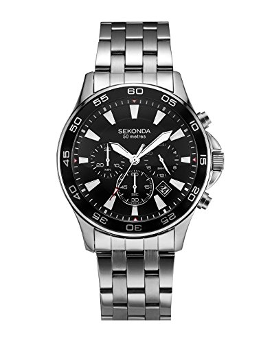 Sekonda Men's Quartz Watch with Chronograph Display and Stainless Steel Bracelet
