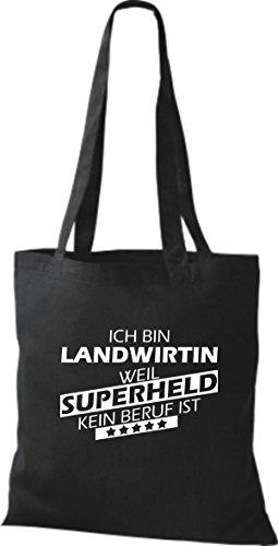 Shirtstown Stoffbeutel Ich bin Landwirtin, weil Superheld kein Beruf ist schwarz