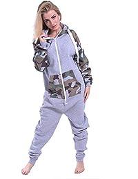 Newfacelook femmes dames imprimé sweat à capuche un zip capuche survêtement
