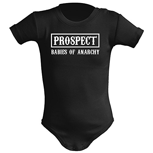 Body bebé unisex Prospect (Sons of anarchy parodia). Regalo original. Body bebé divertido. Body friki. Manga corta (Negro, 6 meses)
