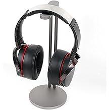 DURAGADGET Soporte de acero plateado para auriculares AKG K 912 / K121 / Y30U / Y40 / Y45bt / Y50 / Y50BT / AGPtek NC-HA0079.