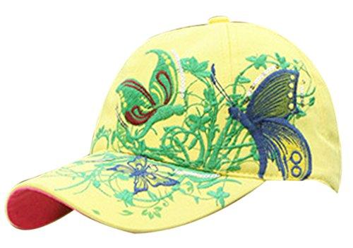 Belsen Mädchen Schmetterlings-Stickerei- Vintage Baseball Cap Snapback Trucker Hat (gelb)
