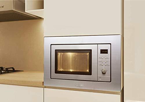 Candy MIC201EX Microondas de encastre con grill y marco, Potencia 800W-1000W, Capacidad 20L, 8 Programas, Color gris