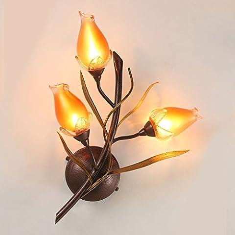QPLA Wandleuchte Wandlampe Wandbeleuchtung Deckenleucht Pastorale Kunstblumen und Wandleuchte , imitation patina