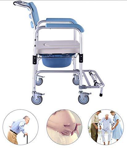 BTHDPP Duschkabine Rollstuhlgerecht 3-in-1 Elder Klappstuhl Nachttisch WC Duschsitz Badezimmer Rollstuhl Aluminiumlegierung Wasserdicht,BlueA -