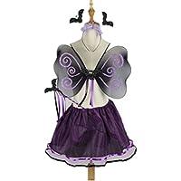 BESTOYARD Fledermaus Kostüm Mädchen Flügel Fee Zauberstab Tutu Rock und Stirnband Set 4 (lila)
