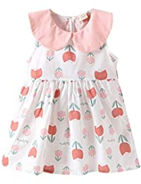 Vestido de Tirantes Niñas Verano K-Youth Lindo Vestidos Plisado para Niña con Flores Ropa Bebe Niña Recién Nacido Vestido de Sin Manga 0-24 Meses