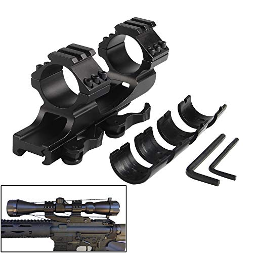 Flashlight Scope Optics Mount 1inch/30mm with Quick Release Cantilever Weaver Forward Reach Dual Ring Rifle Mount fits 20mm Picatiny Rail for Hunting Accessory Cantilever Mount