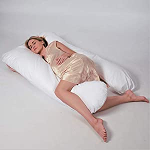 Pregnancy Pillow by Perfek Night – Extra Long Full Body Maternity Pillow Supports Back, Knees & Legs – U Shaped for Comfortable Side Sleeping. 100% Luxury Quality Cotton Cover (153 cm x 97 cm)