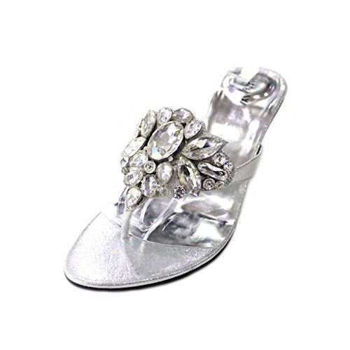 W & W femmes Mesdames Soirée Diamante mariage talon moyen bloc de bois de santal Chaussures à enfiler Confort Taille 4-10(Noir) silver
