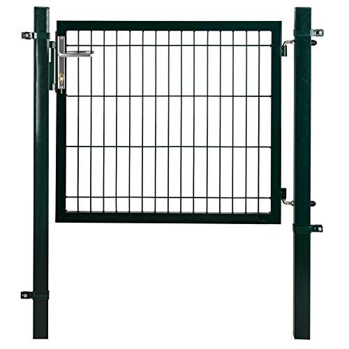ESTEXO Gartentor Set mit Tür, Pfosten, Aluminium Türgriff und Einsteckschloss inkl. 3 Schlüssel, Farbe Moosgrün RAL 6005, Größe 80 cm