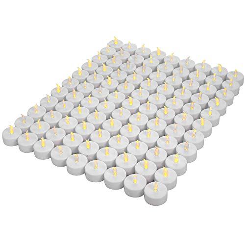 OSHINE 100unidades LED Velas Velas CR2032 pilas velas sin llama de iluminación eléctrica falso Vela para Hogar Navidad boda mesa regalo al aire libre cálido Amarillo ...
