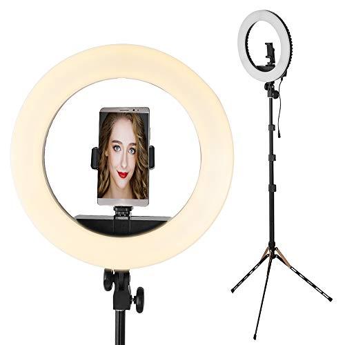 Ringlicht mit Stativ, Hersmay 14-Zoll Dimmbares Ringleuchte LED Videoleuchte 3200-5600K Dimmbares Ringleuchte für YouTube Makeup Kamera Smartphone Videoaufnahmen Fotografie Beleuchtung - Für Kamera Videoaufnahmen