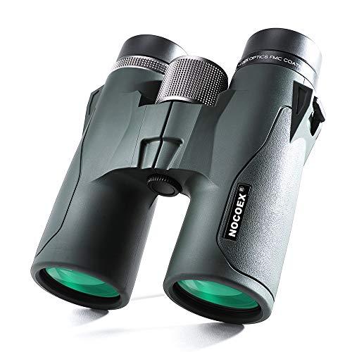 NOCOEX 10x42 HD Binocolo Compatto Tascabile Con Prisma a Tetto, Resistente All'acqua, Anti-Nebbia e Anti-Shock, Adatto al Bird Waching, Vista e Caccia,Safari, Nero (Green)