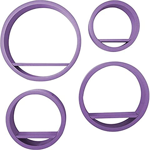Bhp Set 4 Estanterías De Pared Morado 39,5x9x39,5cm