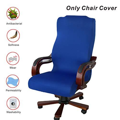 My Decor Bürostuhlhusse, Abnehmbarer Bezug, Stretch-Kissen, widerstandsfähiger Stoff, Computerstuhl, Schreibtischstuhl, Chefsessel, Drehstuhl, Chefsessel, Groß, Schwarz blau (Schwarz, Stoff Dining Chair)