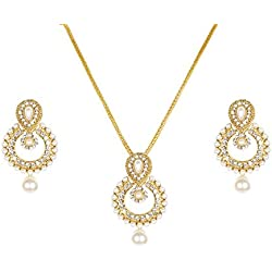 Lady Touch American Diamond Gold Plated Pearl Pendant Set for Women