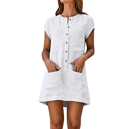 MAYOGO Damen Kleider Kleid Damen Sommer Baumwolle und Leinen Tshirt Kleider Kaftan Kleid Unifarben Kurzarm Tasche Sommerkleid Casual Jersey Blusen Kleider - Audrey Tasche