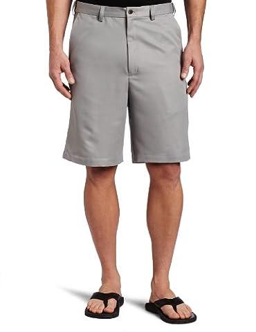 Haggar Men's Cool 18 Gabardine Hidden Expandable Waist Plain Front Short,Griffin,36