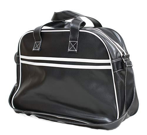 Bolsa de deporte vintage, estilo bolera retro. Con esta bolsa podrás llevar tus prendas para hacer deporte con mucho estilo. Se puede llevar como bolsa de mano o bandolera. Medidas: 47x33x17cm. Composición: 100% PVC.
