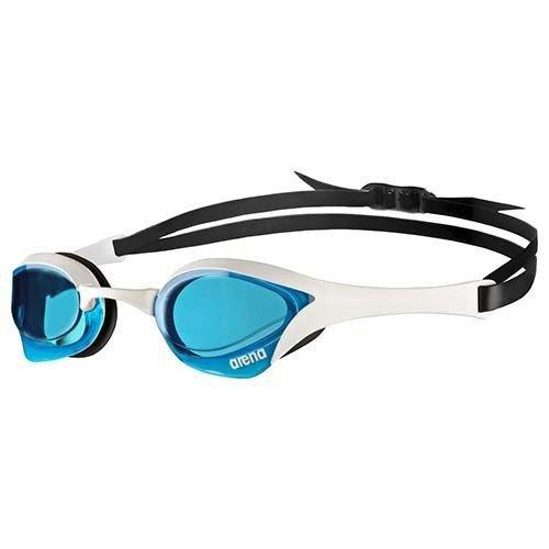 Arena Cobra Ultra Schwimmbrille, mit blauem Brillenglas, mit weiß-schwarzem Gurt