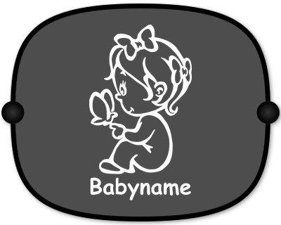 Sonnenschutz Auto Baby Kinder Sonnenblende mit Wunschtext - Motiv 41 (großer Aufdruck)