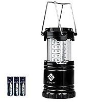 Etekcity Faltbare LED Campinglampe Camping- und Garten- Laterne, Ideal für Terrasse, Camping, Wandern, Notfall, Outdoor-Aktivitäten, Schwarz