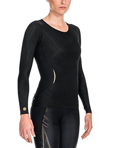 Skins, A400, Maglietta sportiva a maniche lunghe Donna Black and Golden - Golden