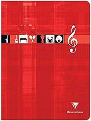 Clairefontaine 3307C - Un cahier piqué de musique et chants 48 pages 24x32 cm 90g grands carreaux et portées,