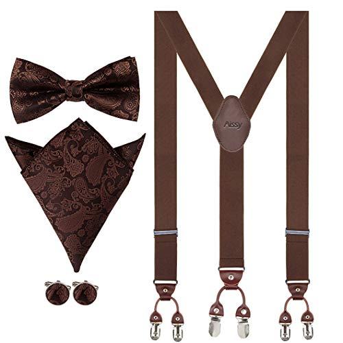 Aissy Tirantes para hombres de 3,5 cm en forma de Y Ajustable para servicio pesado Pantalones para hombres con corbata de lazo, bolsillo cuadrado y gemelos YG marrón