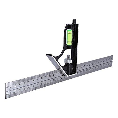 Lineal mit Wasserwaage, 30 cm, verstellbarer Kombinationswinkel, für Ingenieure