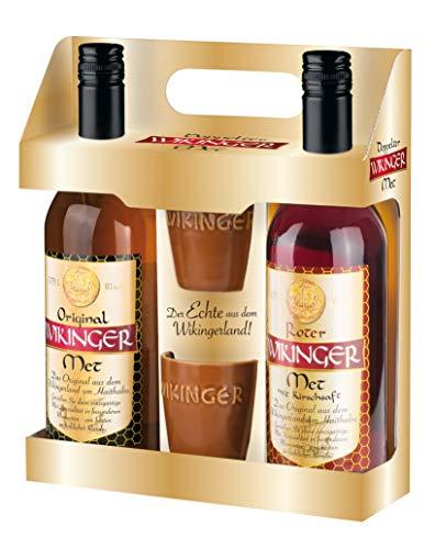 Original Wikinger Met + Roter Met Geschenkpackung (1 x 1.5 l) - Der Honigwein / Honigmet aus Haithabu