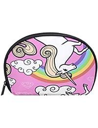 e3f127d45 Neceser de maquillaje con diseño de unicornio y dibujos animados sin  costuras, arcoíris con cremallera
