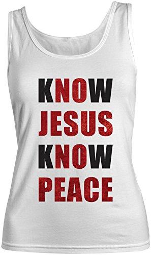 Know Jesus Know Peace Christian Religion Christ Femme Tank Top Debardeur Blanc