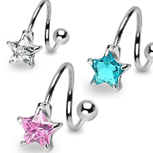 Piercing twist étoile 7mm en acier chirurgical 316L Aqua Taille 1,6 mm x 11 mm