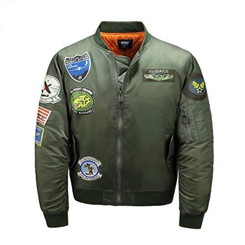 AVIDACE Gesteppte Bomberjacke Männer Nylon Übergröße mit 8 Lederflicken Mantel Größe S Grün
