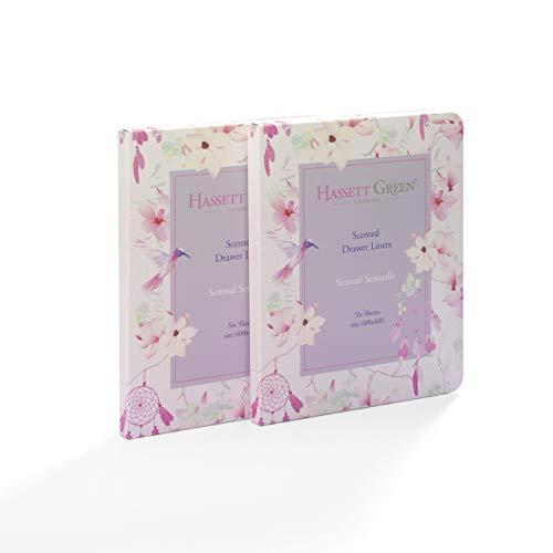 Hassett Green London Sensual Sensuelle Schubladeneinlagen Duft nach Lavendel und Rose 600 x 400 mm 2 Packungen mit 6 Bögen - Lavendel Schublade Liner