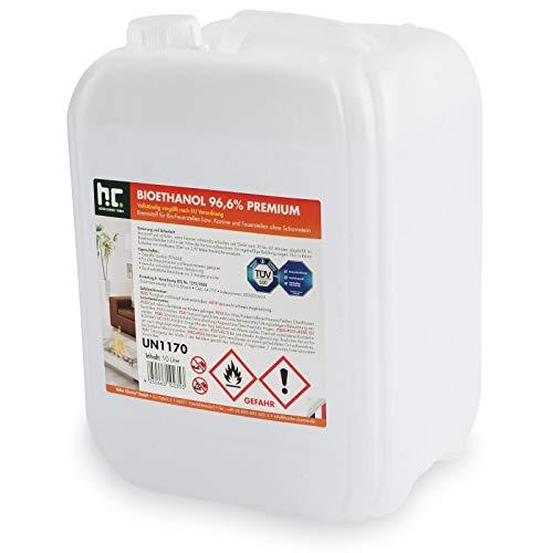 Höfer Chemie 1 x 10 L Bioethanol 96,6{431b8e2cb23a3c7e4643147342697cce1a52226166b2b068db0bd5afe3200cd5} Premium - TÜV SÜD zertifizierte QUALITÄT - für Ethanol Kamin, Ethanol Feuerstelle, Ethanol Tischfeuer und Bioethanol Kamin