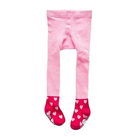 Hirolan Baumwolle Strumpfhose Strumpfhose Strumpf Star Füßig gemütlich Socken zum schön Neugeboren Baby Mädchen Kleinkind Kinder Blau Rosa Grün Farbe (M, Rosa)