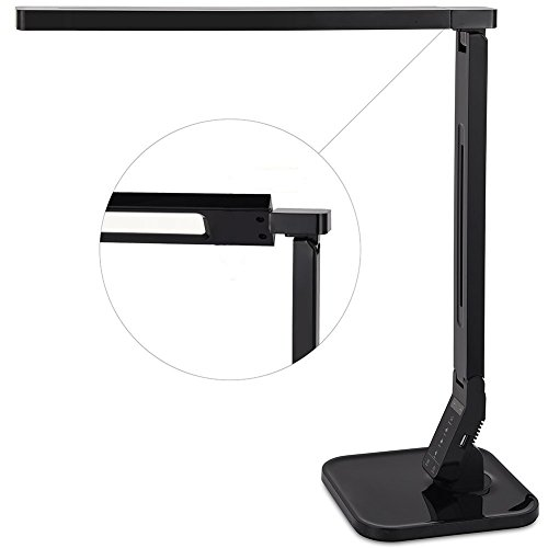 WAFTING LED Desk Lamp with USB Charging Port, Touch Control, 4 Lighting Modes(Studying, Reading, Relaxing, Sleeping), 5-Level Dimmer,1-Hour Auto Timer, Ultrabright Lamp for Office and Living Room (15W (Timer Und Dimmer)