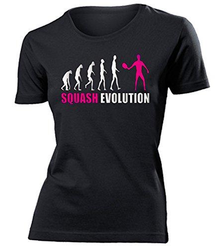 Squash Evolution 534 Sport Shirt Tshirt Fanartikel Fanshirt Frauen turniershirt Shop Sportbekleidung Damen T-Shirts Schwarz Aufdruck Pink S