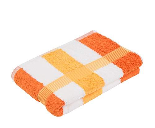 Gözze Duschtuch, 100% Baumwolle, 70 x 140 cm, New York, Streifen, Orange/Weiß/Gelb, 555-8450-5 -