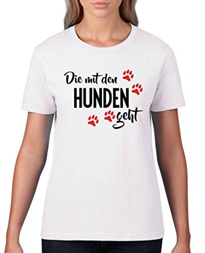 Comedy Shirts - Die mit den Hunden geht - Damen T-Shirt - Weiss / Schwarz-Rot Gr. M