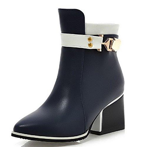 Voguezone009 Femmes Zipper Chaussures Pointues Bottes De Faible Hauteur Avec Métal Bleu Clair