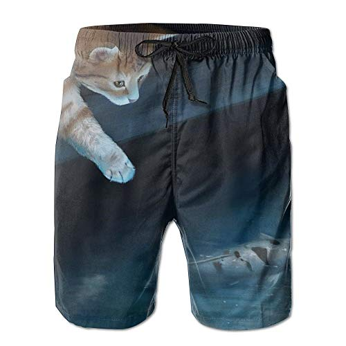 ZHIZIQIU Men's Shorts Swim Beach Trunk Summer Cat Kitten Catch Fish Fit Classic Shorts with Pockets - M -