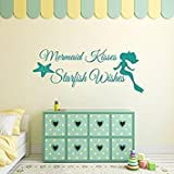Wall Decal Decor Mermaid Wall Decal Quote - Mermaid Kisses Starfish Wishes - Girls Room Baby Crib Wall Decal Sticker Vinyl Wall Art(18.5