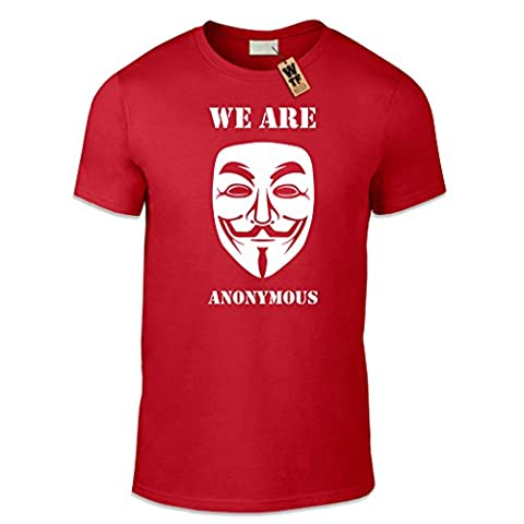 WTF PRINTED | We Are Anonymous | Casual Fit. MEDIUM – RED
